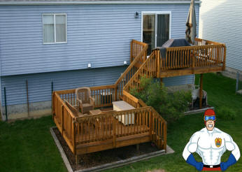 Wooden Deck Pressure Washed With Steam